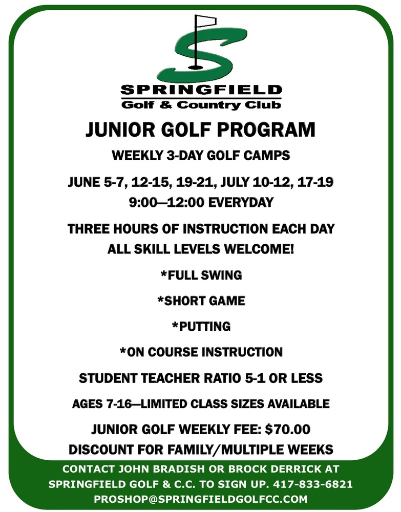 Summer Golf Opportunities for K-8th Grade Students