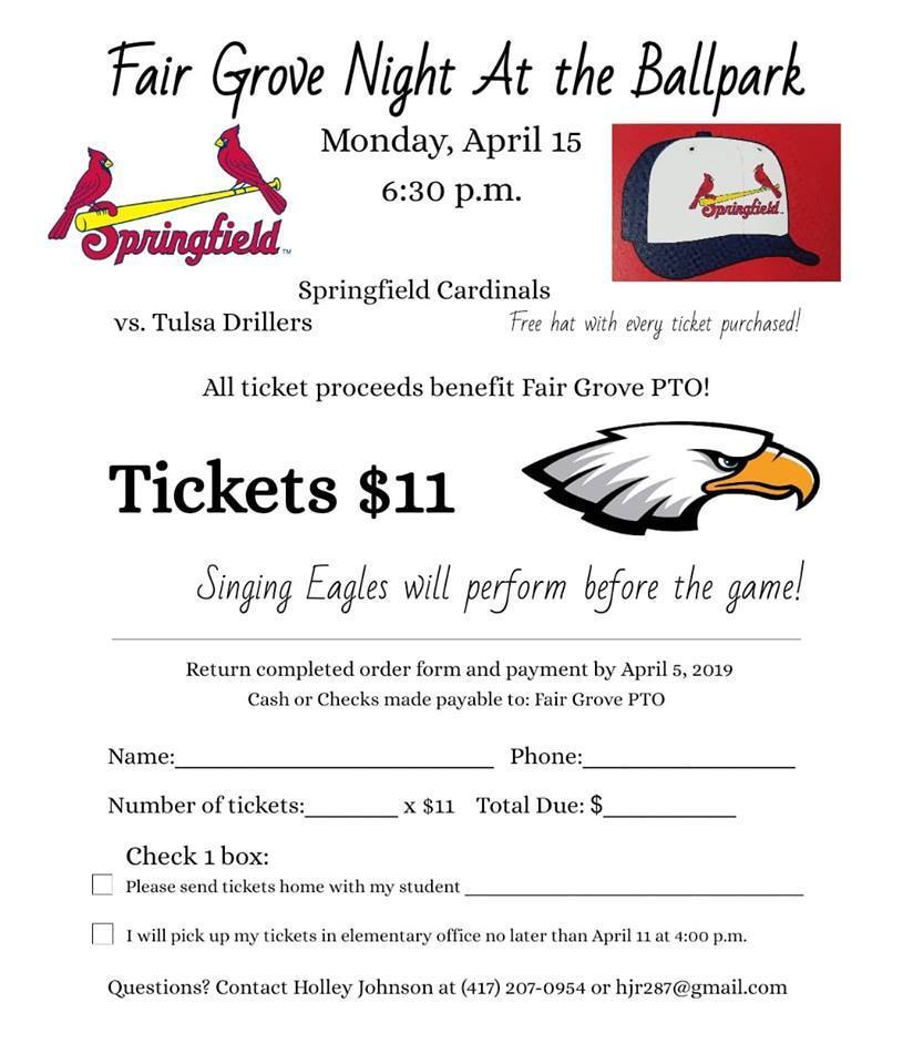 FG Night at Springfield Cardinals April 15th