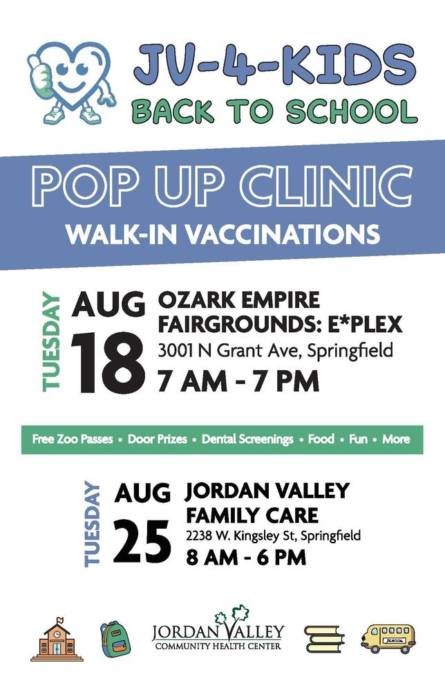 Jordan Valley Upcoming Back to School Clinics