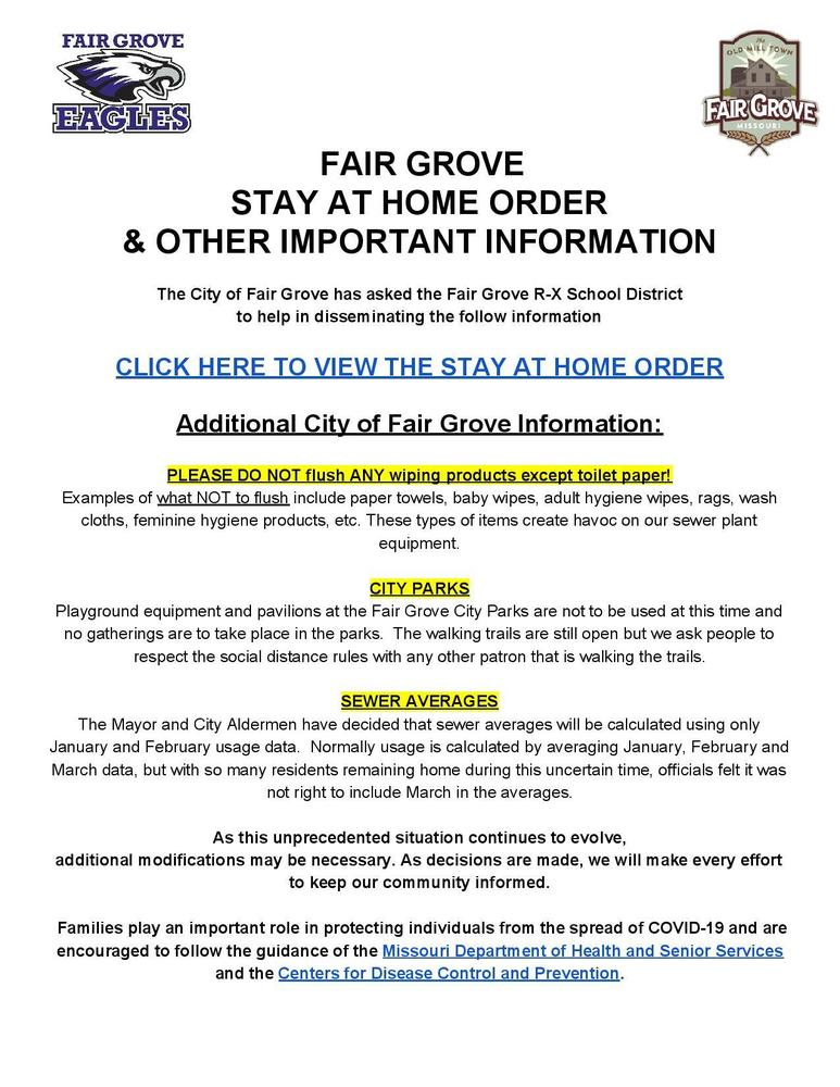 City of Fair Grove Stay at Home Order & Other Important Information
