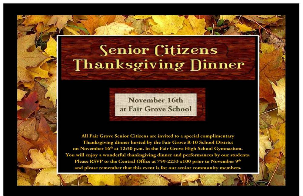 Senior Citizen Thanksgiving Lunch @ FG School Nov. 16th