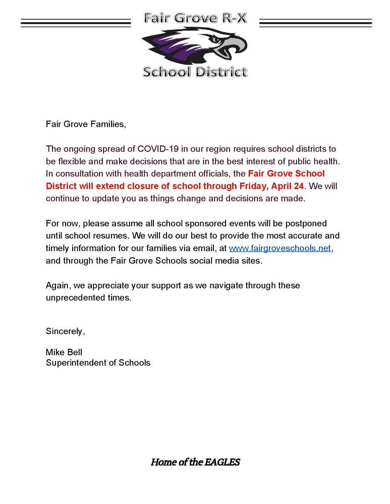 School Out Through April 24th