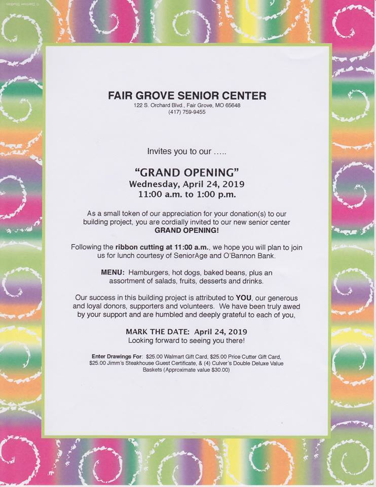 FG Senior Center Grand Opening April 24th
