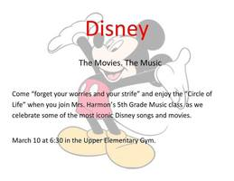 5th Grade Disney Music Program March 10th