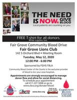 Blood Drive in Fair Grove May 12th