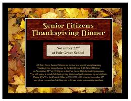 Senior Citizens Thanksgiving Dinner Nov. 22nd at FG SCHOOL