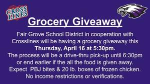 Grocery Giveaway at FG School April 16th