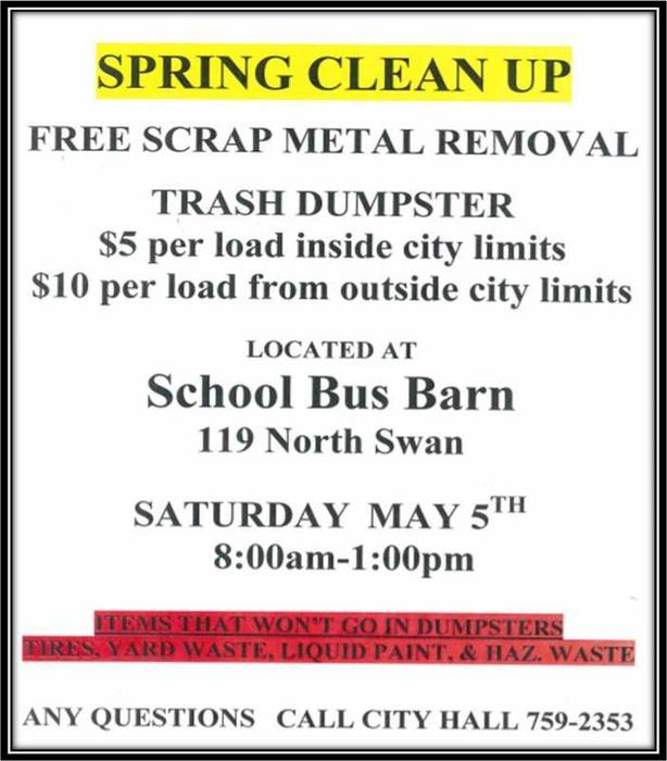 Community Garage Sale & Spring Clean Up Day