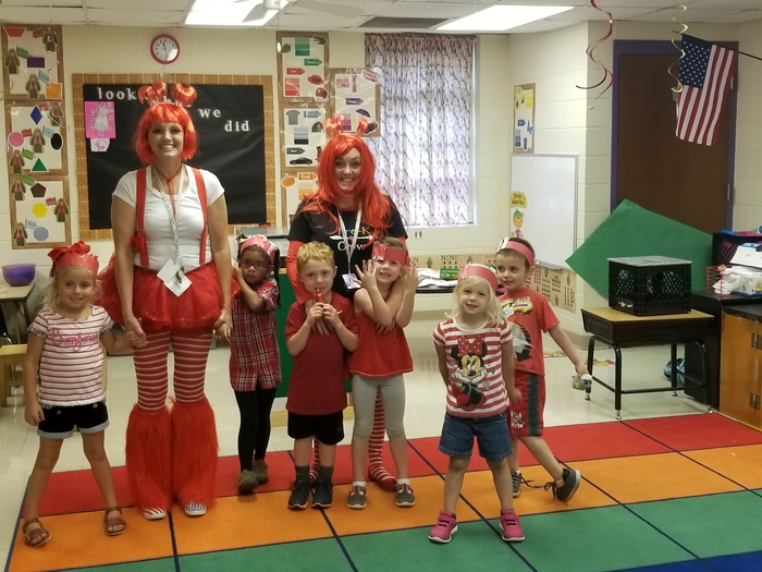 Mrs. Tiffany's class dressed in red