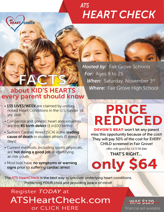 ATS Heart Check Nov. 3rd - Price Reduced