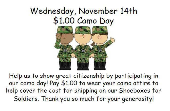 FGE $1 Camo Day for Shoeboxes for Soldiers