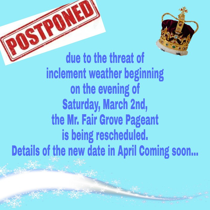 Mr. FG Pageant Postponed
