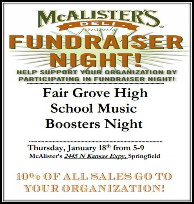 FG MUSIC Boosters Night @ McAlister's Jan. 18th