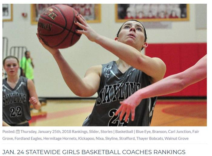 Girl's basketball rankings - Skyline girls shooting basket