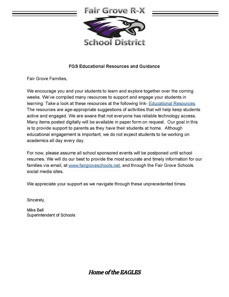Letter from Mr. Bell re: Educational Resources