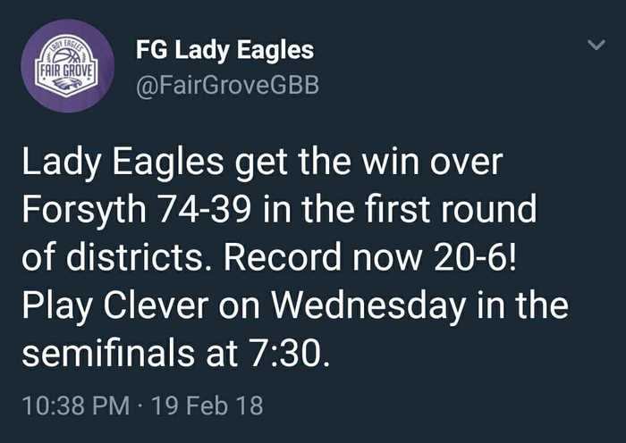 Lady Eagle Basketball Districts Update