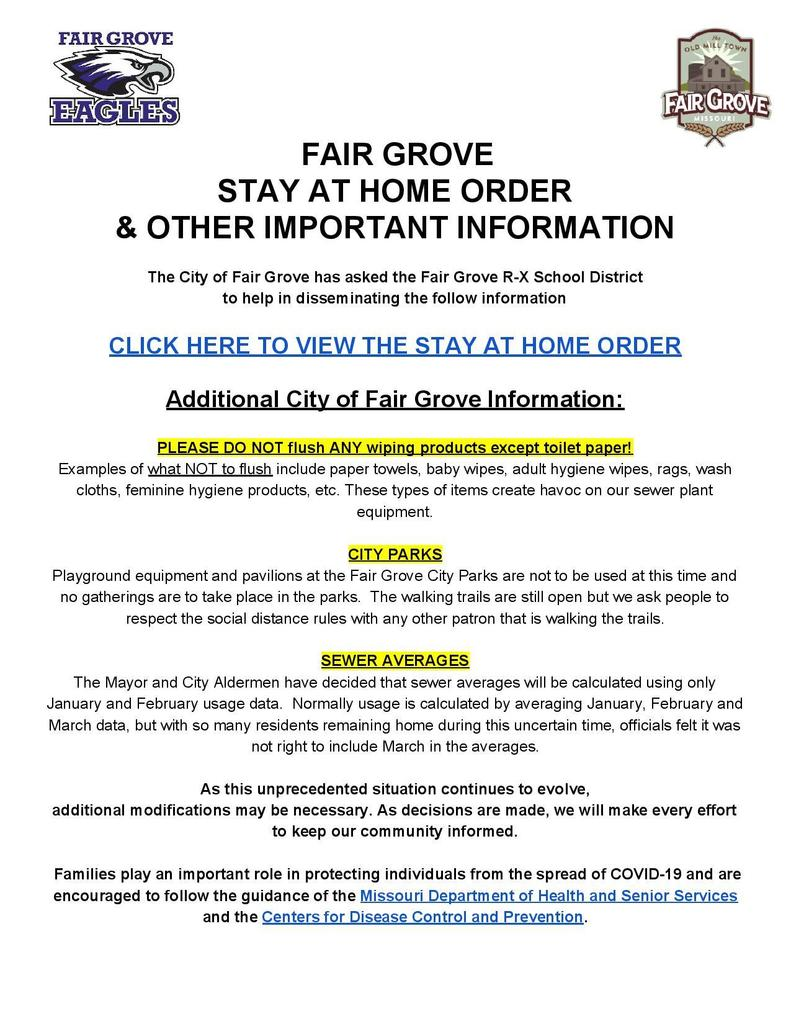 City of Fair Grove COVID-19 Announcements