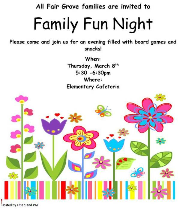 Family Fun Night March 8th