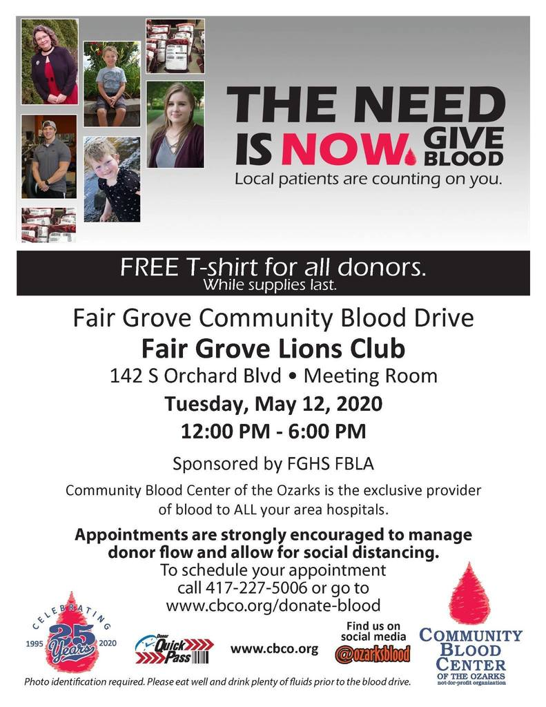 FG Blood Drive May 12th