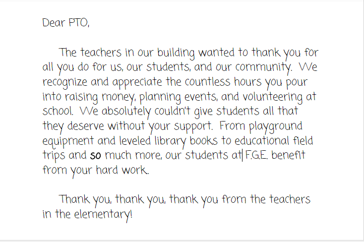 Thank You to FG PTO from FGE Teachers