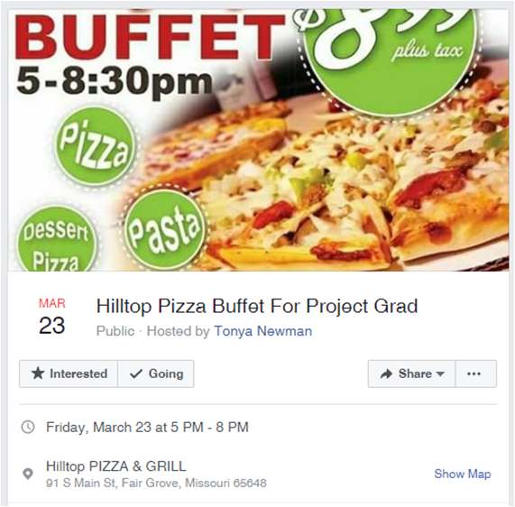 Proj Grad Pizza Buffet Fundraiser